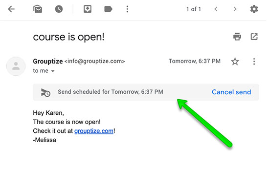 individual scheduled email