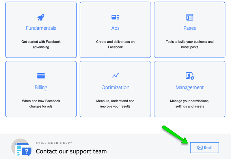 how to contact facebook support