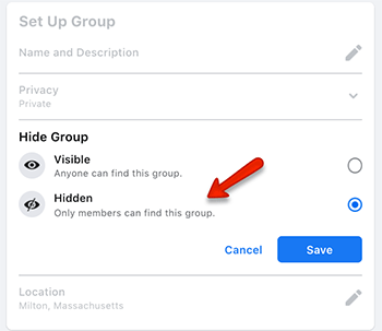 how to hide a facebook group