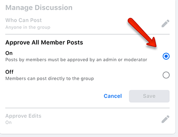 facebook group how to turn on post approval