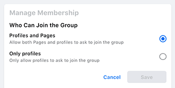 who can join facebook group - profile or page