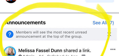 Facebook members will only see announcements once.