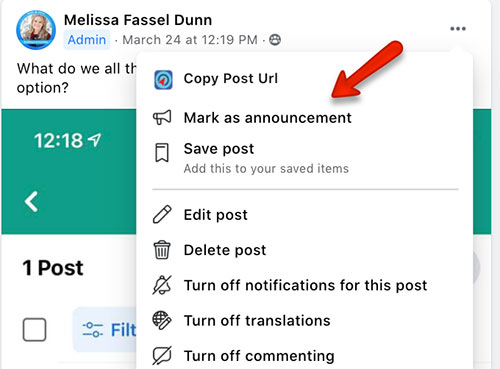 how to mark a facebook group post as an announcement