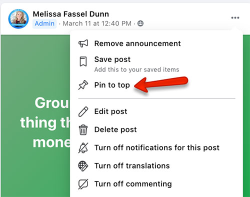 how to pin a facebook group announcement