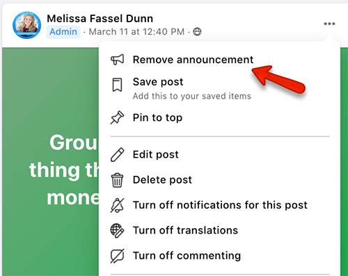 how to remove a Facebook group announcement