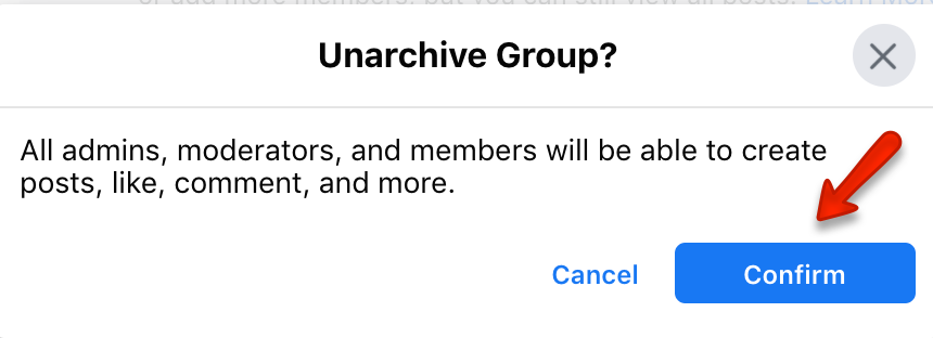 unarchive facebook group