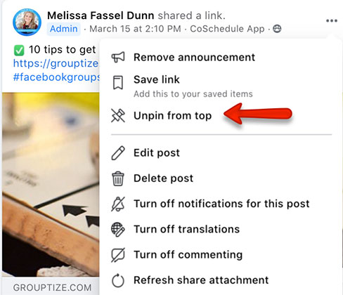 how to unpin an announcement from the top of a facebook group