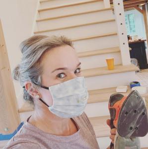 Melissa sanding stairs