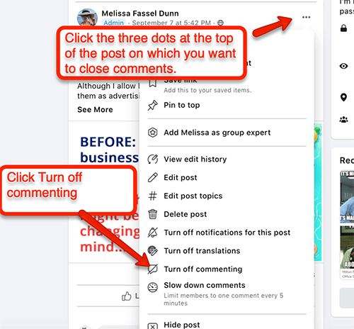 How to turn comments off: Navigate to the offending post. Click the three dots in the upper right hand corner. Scroll down to turn off commenting.